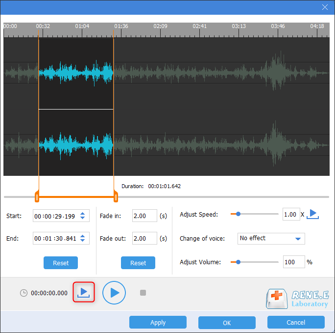 listen to the part after it has been cut in renee audio tools