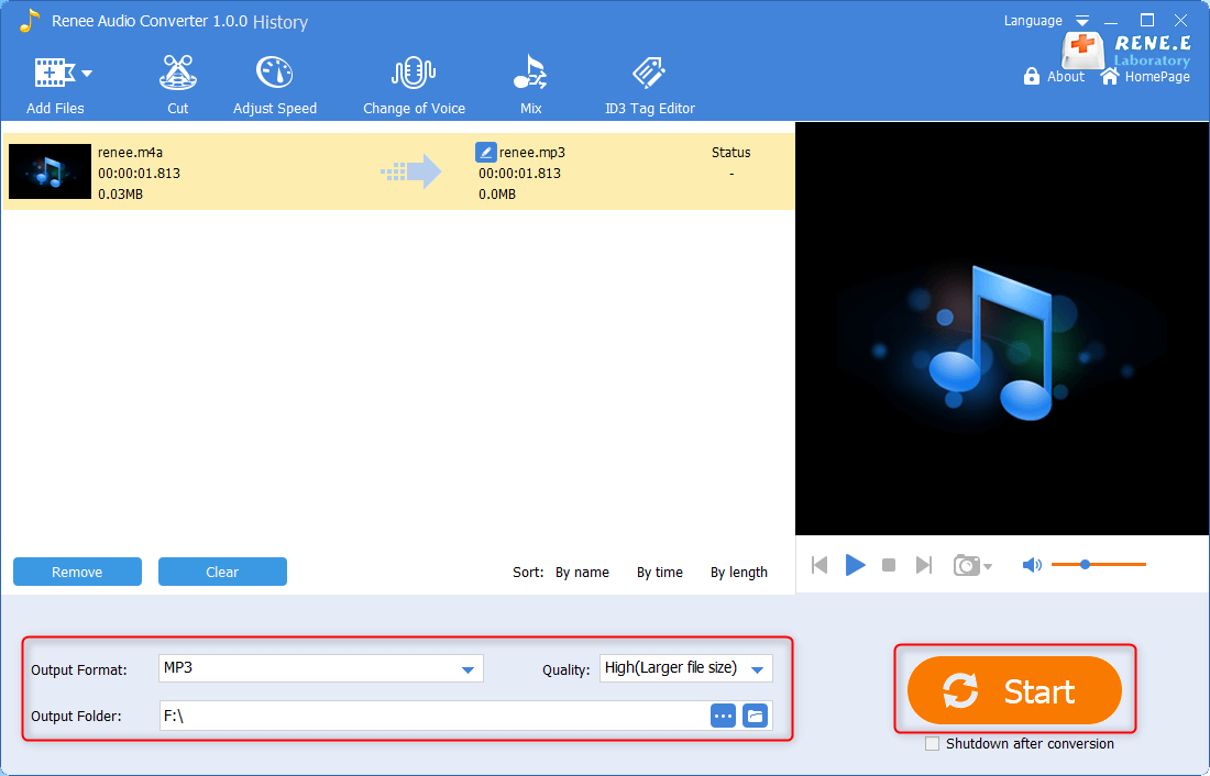 use renee audio converter to convert m4a to mp3