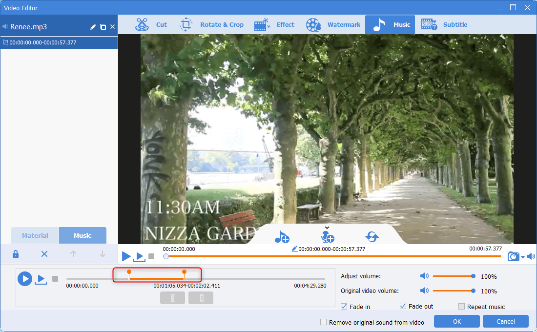 select the position to add the background music in renee video editor por