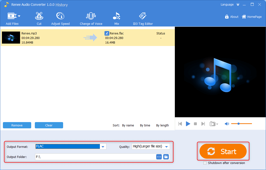 use renee audio converter to convert mp3 to flac