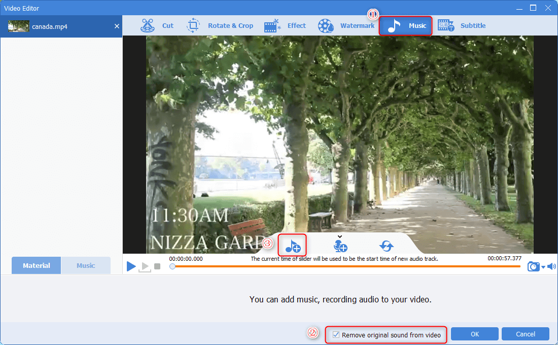 remove the original sounds from the video and add the audio file in renee video editor pro
