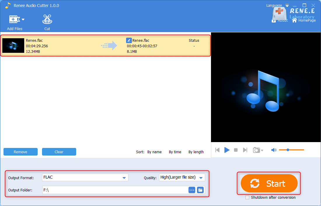 start to output and save the cut flac file in renee audio cutter youtube to flac free online converter