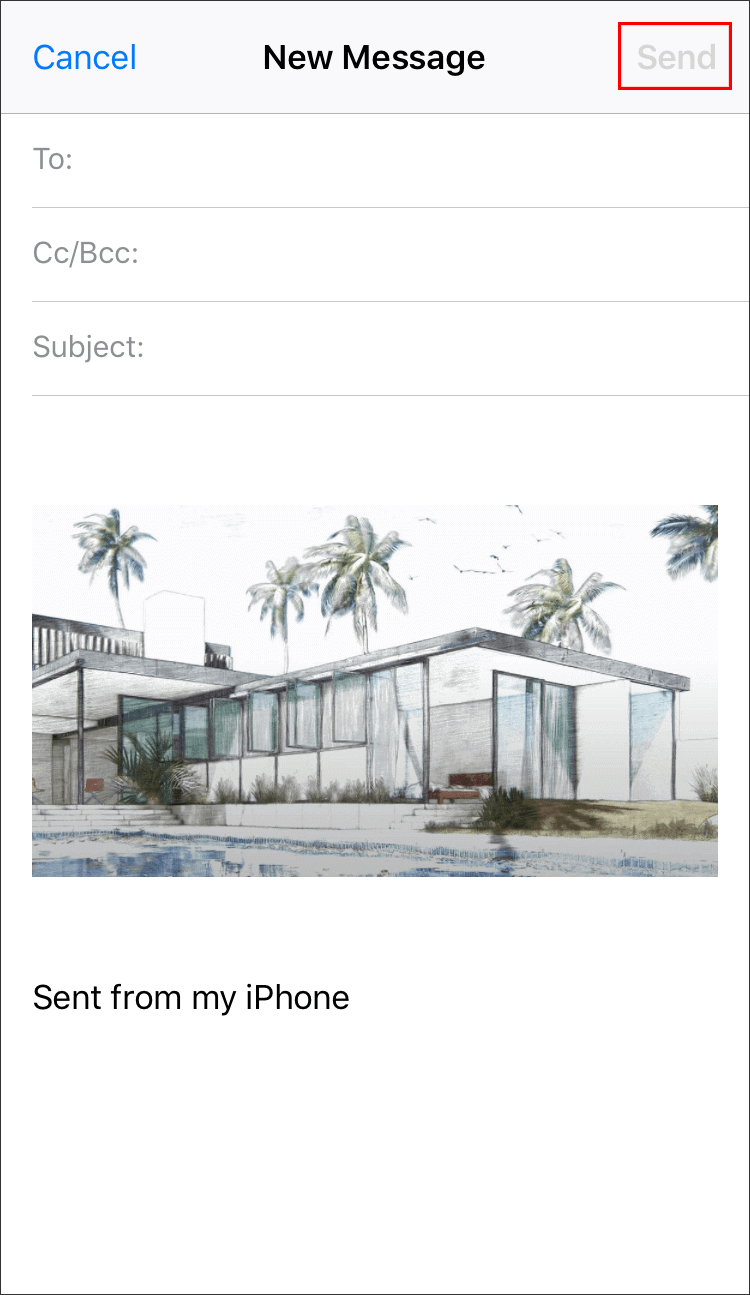 write the receiver and send the photos to another iphone