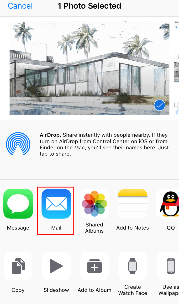 mail photos from an iphone to another iphone