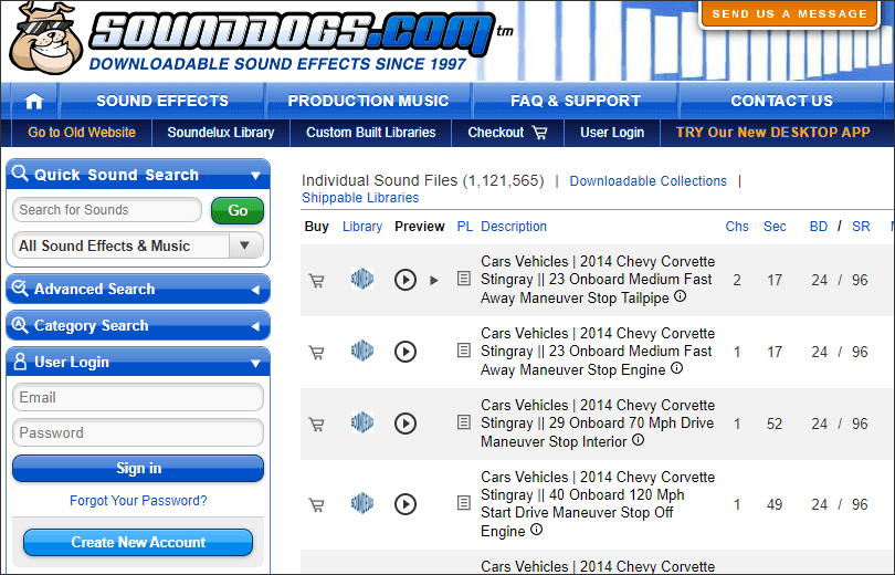 obtain audio effects from sounddogs