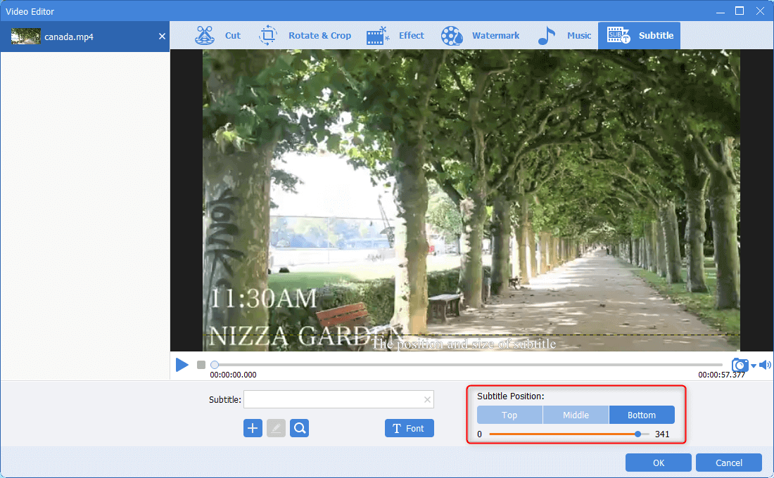 move the box to change the subtitle position in renee video editor pro