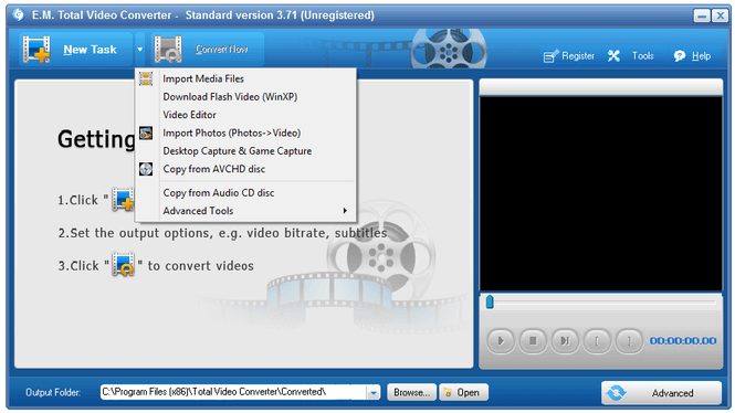 use total video converter to convert format