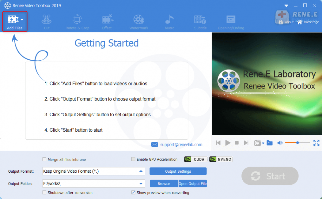 select the video file in renee video editor pro