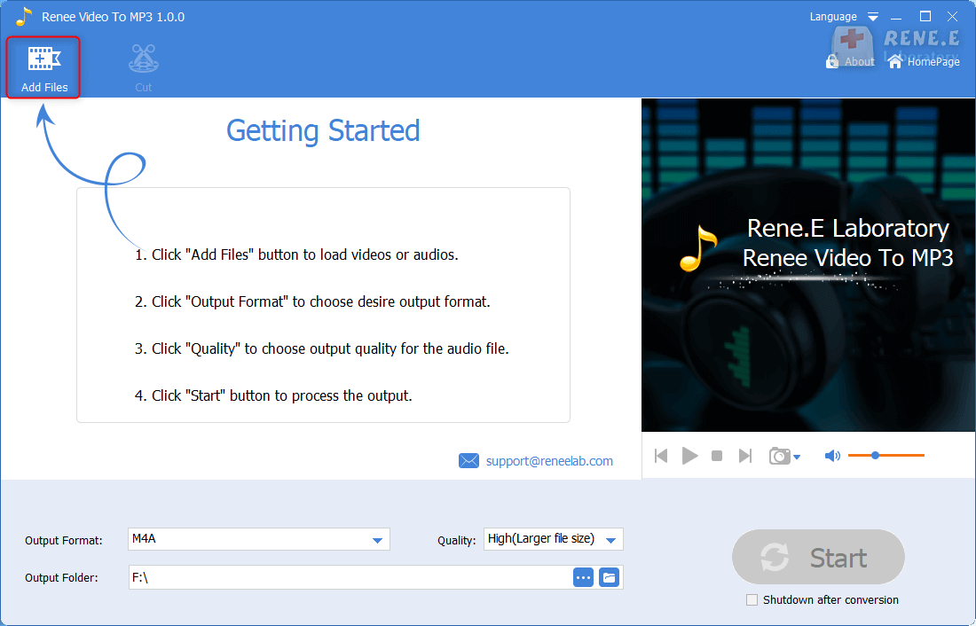 add a video in renee audio video to mp3