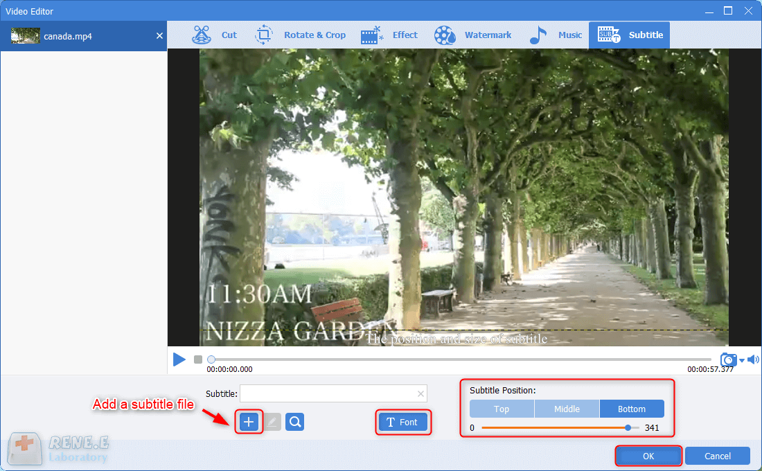 add a subtile file and then adjust the font sytle and position in renee video editor pro