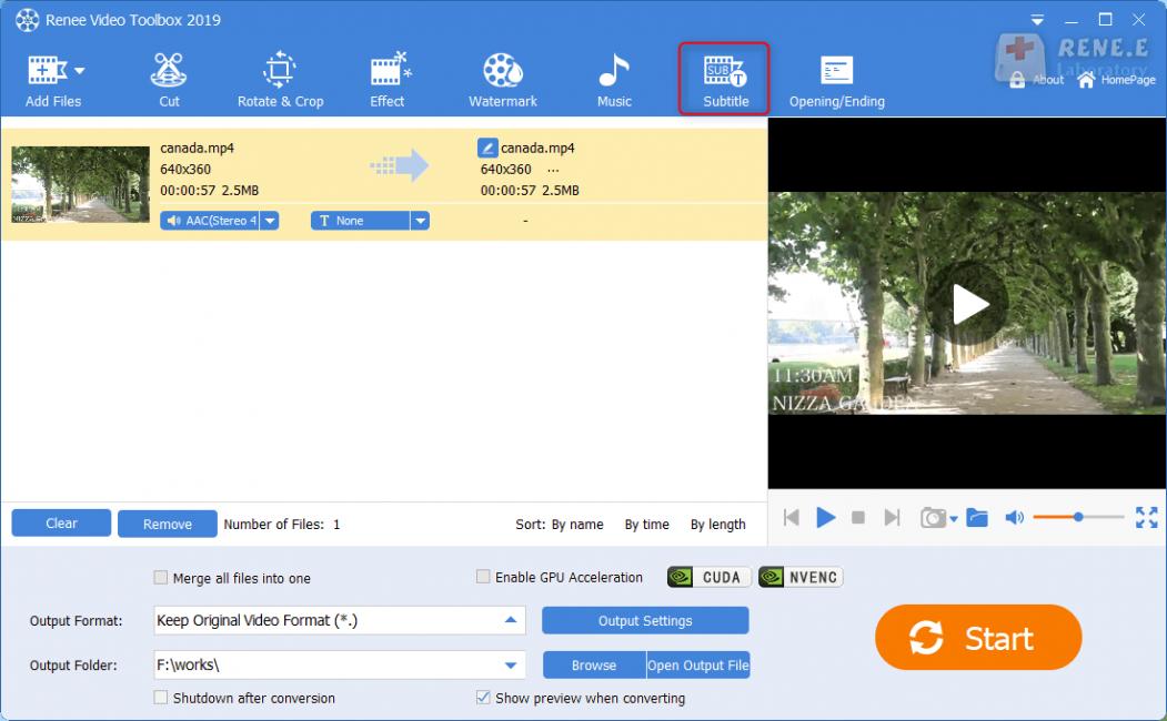 go to subtiltle in renee video editor pro