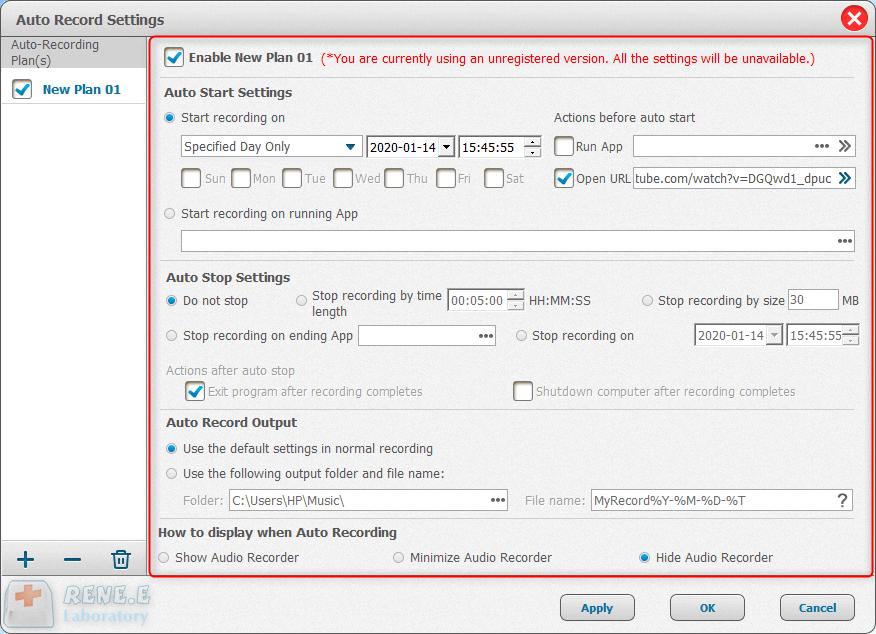 set the auto recording setting in renee audio recorder pro