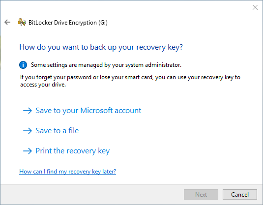 save the recovery key of bitlocker in other places