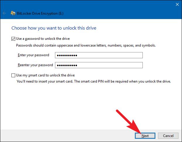set password for bitlocker
