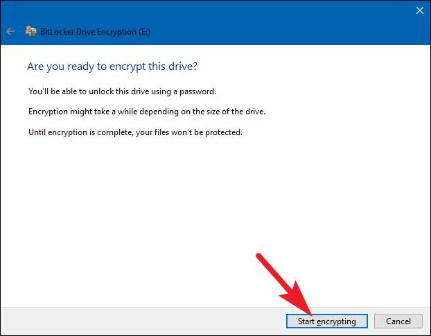 start encryption in bitlocker