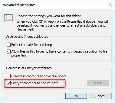 check to encrypt folder
