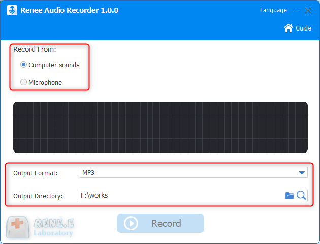 select computer sounds and output format in renee audio recorder