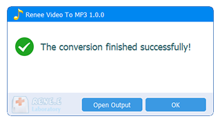 finish conversion in renee audio video to mp3