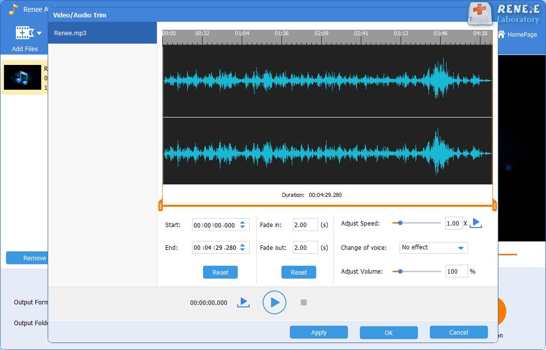 cut mp3 music in renee audio tools