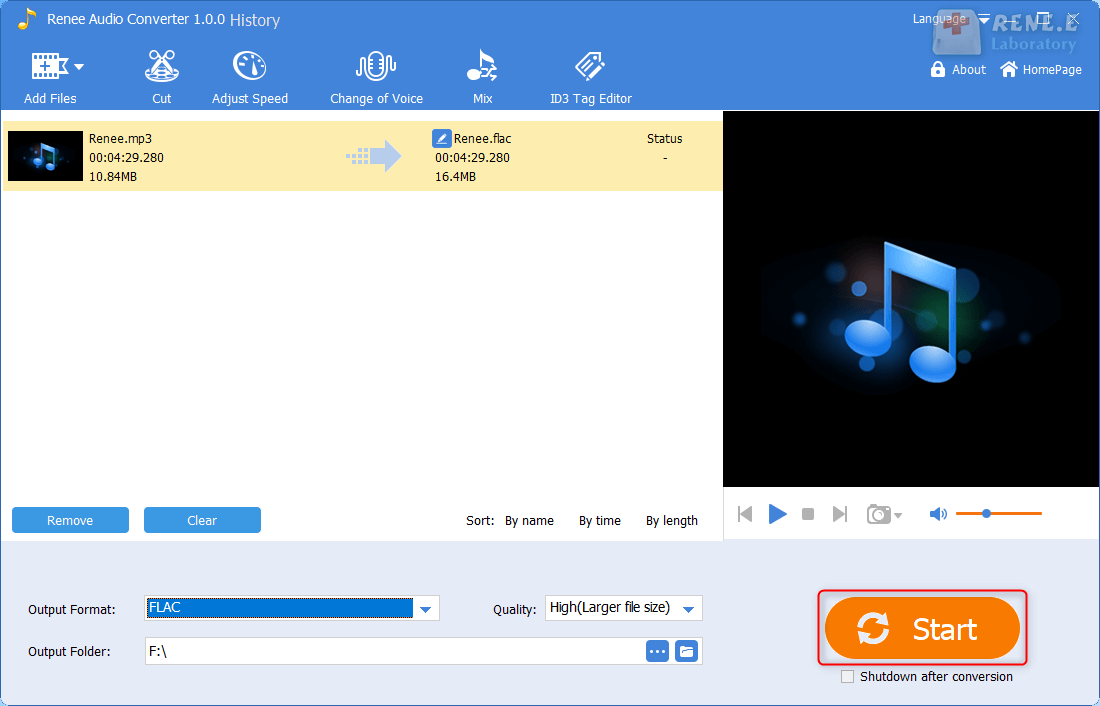 converte mp3 to flac in renee audio converter