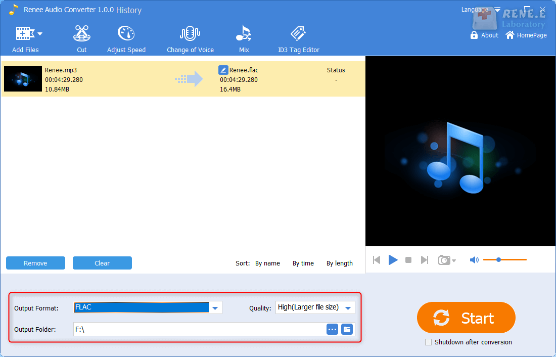 convert mp3 to flac in renee audio tools