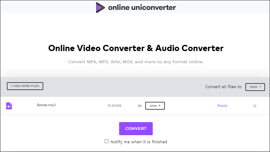 convert mp3 to wma in online uniconverter
