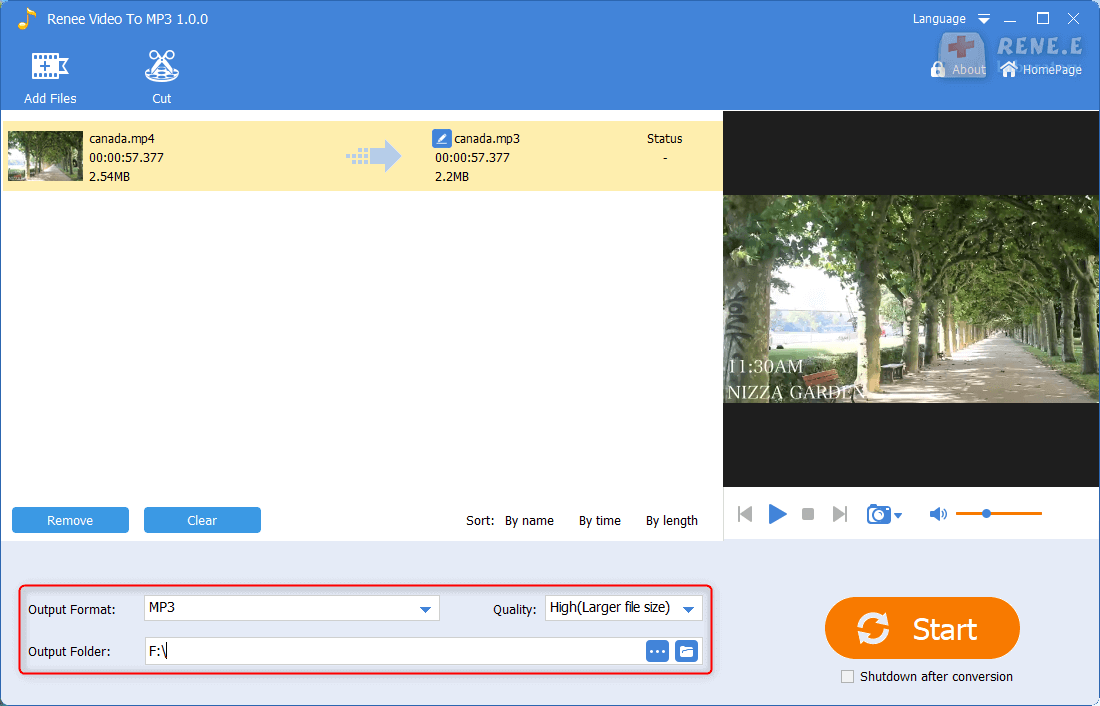 set the output format and output folder in renee audio video to mp3