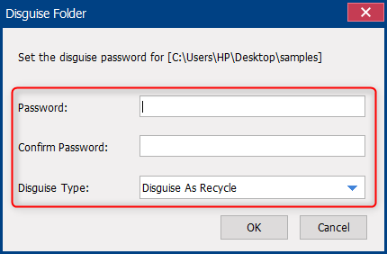 set a password and select a type for the disguise folder in renee securesilo