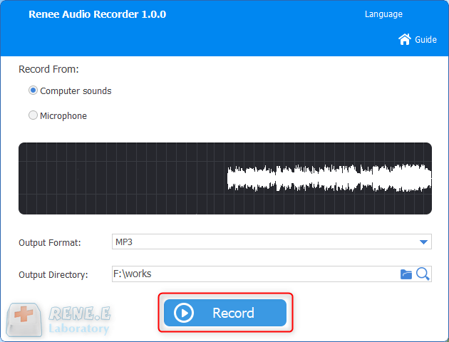click to extract audios from a youtube video in renee audio recorder pro