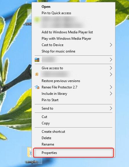 select properties of target folders