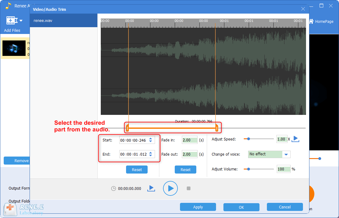 select the cut part from WAV audio