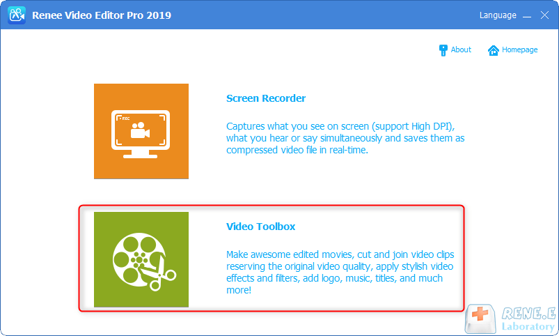 select video toolbox in Renee Video Editor