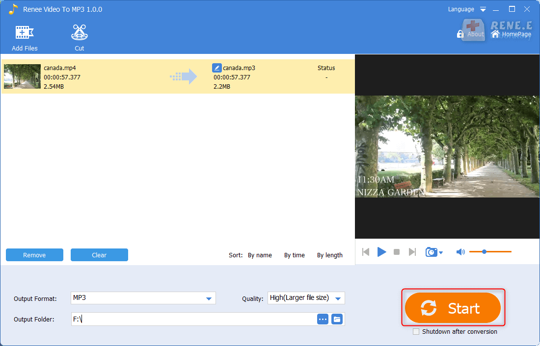extract audio from video with renee audio video to mp3