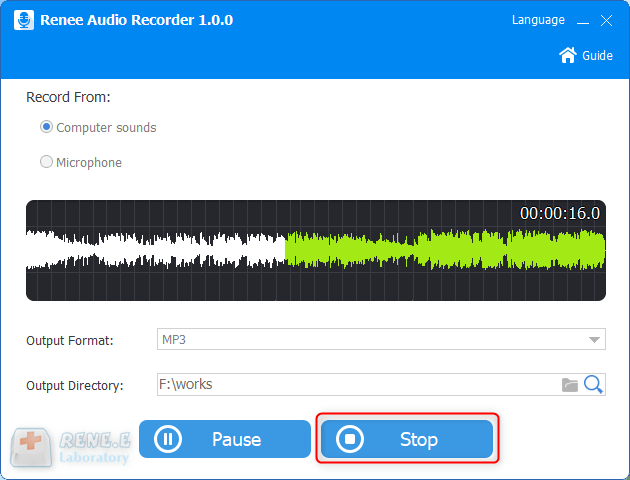 stop recording sounds in renee audio tools