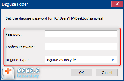 set password for disguised folder