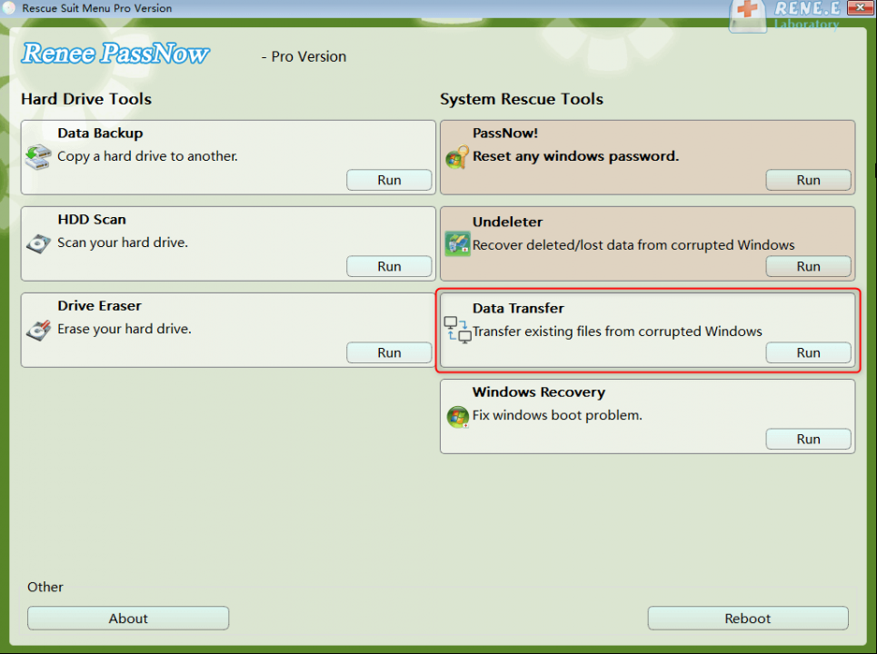 Windows 10 recovery drive select data transfer function in Renee Passnow to sovle windows 10 won't boot from USB