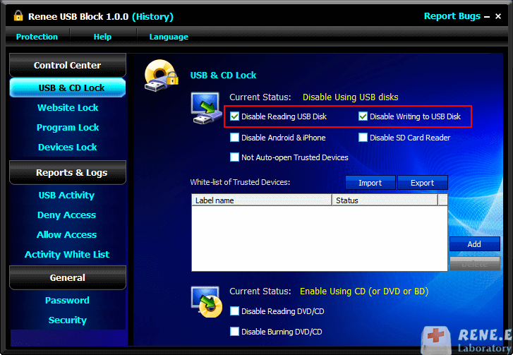 disable usb devices connection
