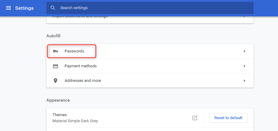 select google chrome password manager