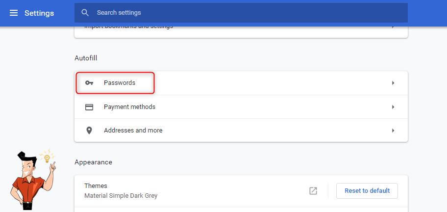 google chrome password manage function