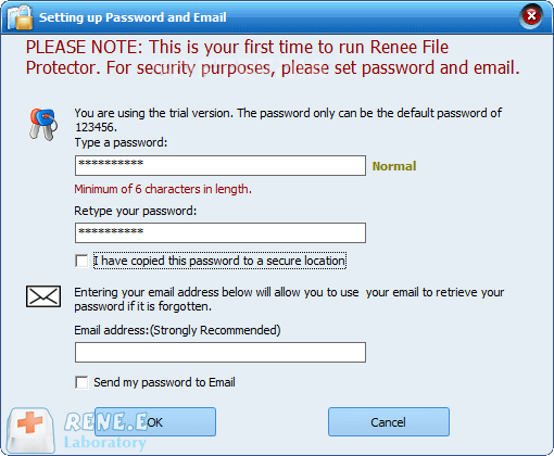 set password in file protector to prevent data leakage