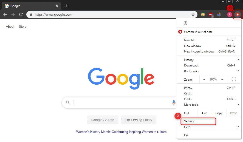 go to seeting function in chrome