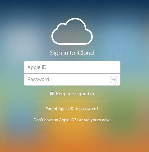 log in icloud in the website