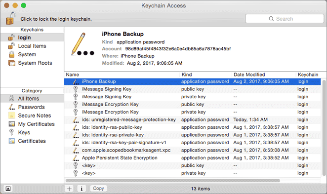 search to find itunes backup password when forgotten