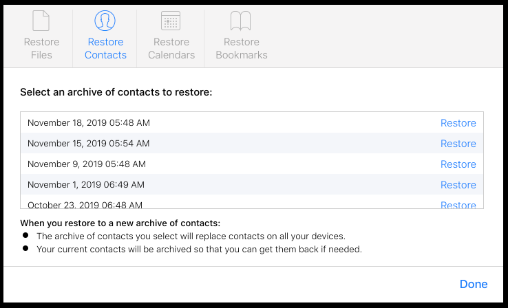 how to restore data from icloud in the website