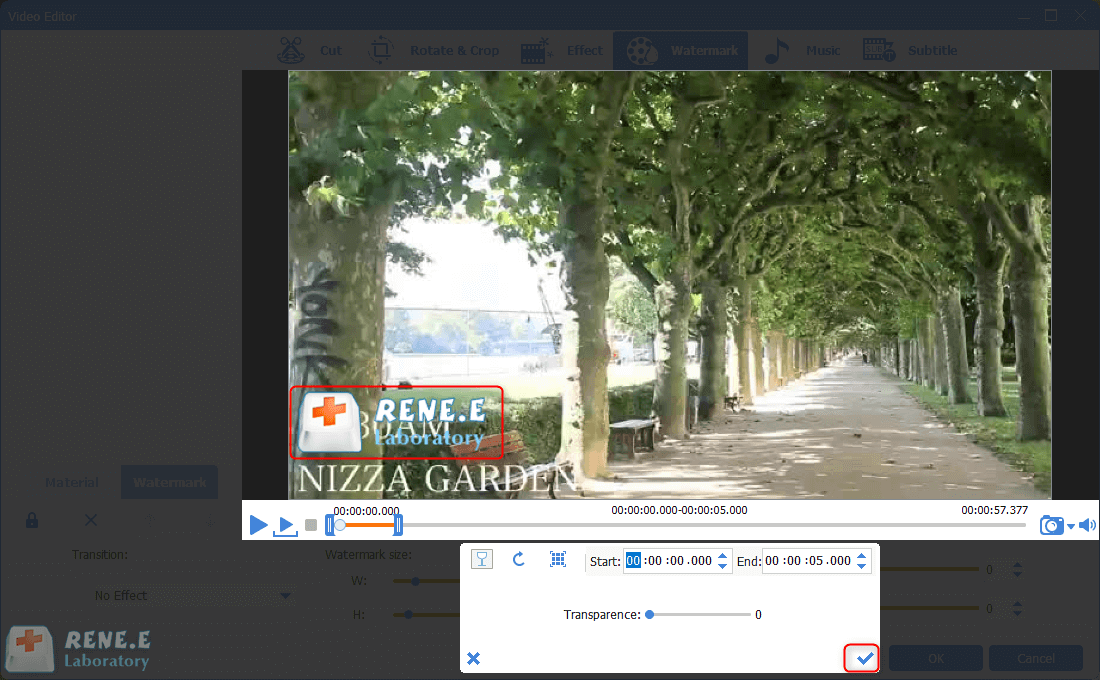 add image watermark to the mp4 video in renee video editor pro