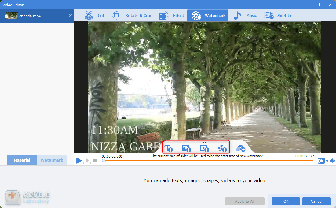 text image and video watermark in renee video editor pro