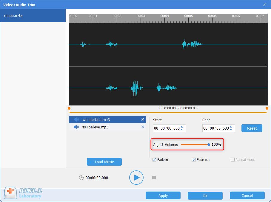 volume up or down m4a file with renee audio tools