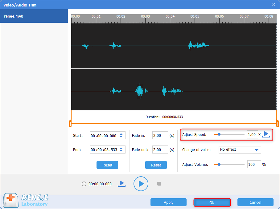 adjust the playback speed for m4a file