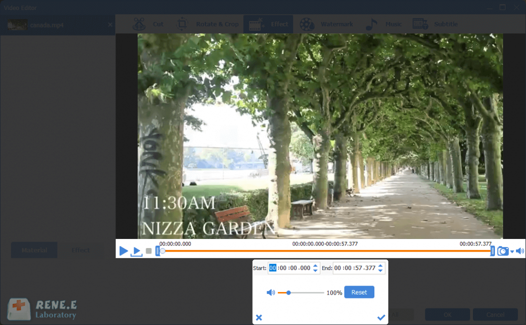 adjust volume in renee video editor pro