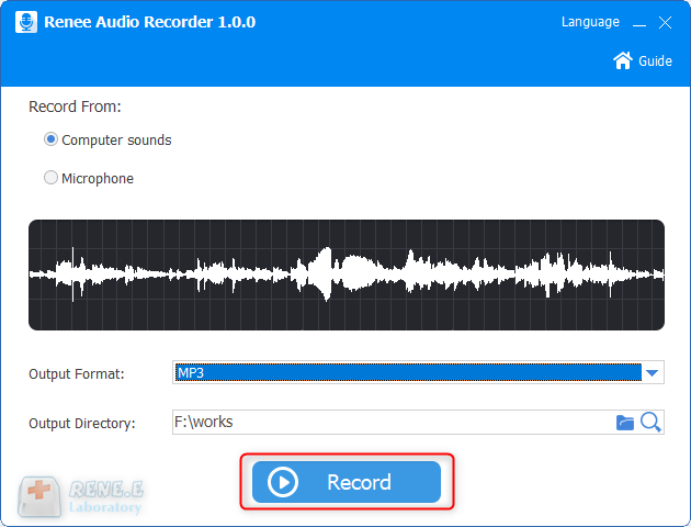 use renee audio tools to record computer sounds